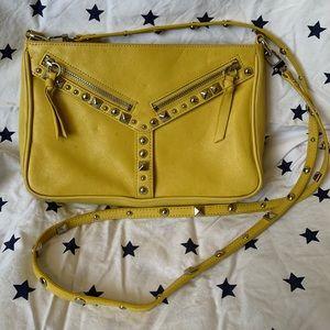 Leather yellow studded crossbody bag